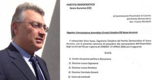 Sessa Aurunca – Cambio guardia al vertice PD, Sasso scrive a Mirabelli e convoca l'assemblea degli iscritti
