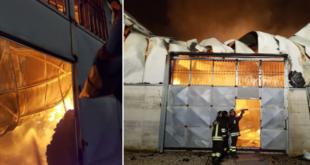 """SAN MARCELLINO – Rogo sulla provinciale 335: fabbrica di """"panni americani"""" prende fuoco"""