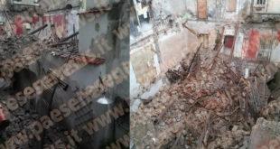 Pignataro Maggiore – Crolla palazzo nel centro storico, famiglia bloccata: i pompieri tentano di salvare vite umane
